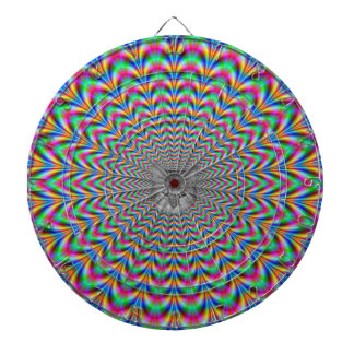 Psychedelic Zigzag Rings Cat Dartboard