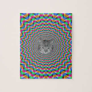 Psychedelic Zigzag Rings Cat Jigsaw Puzzle