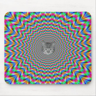 Psychedelic Zigzag Rings Cat Mouse Mat