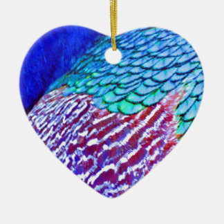 Psychedellic Blue Feathers Christmas Ornament