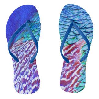 Psychedellic Blue Feathers Flip Flops