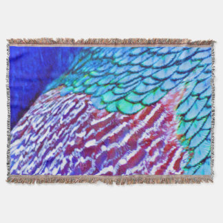 Psychedellic Blue Feathers Throw Blanket