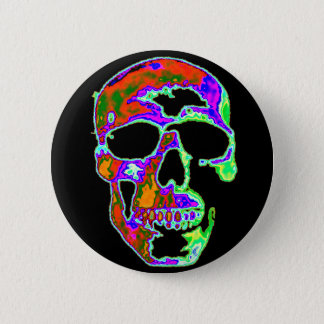 Psychedellic Skull 6 Cm Round Badge