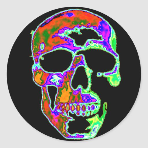 Psychedellic Skull Round Stickers