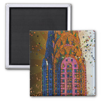 Psychedlic NYC Chrysler Building Top Closeup 1 Magnets
