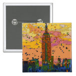 Psychedlic NYC: Empire State Building #1 15 Cm Square Badge