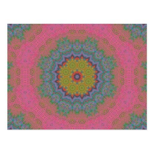Psychedlic Pink Lace Fractal Mandala Postcard