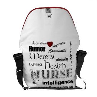 Psychiatric Nurse-Attributes/Red Heart+Initials Courier Bags