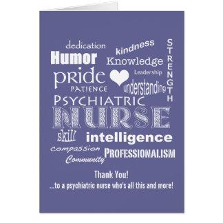 Psychiatric Nurse Thank You/ Word Cloud Greeting Card