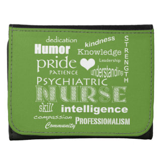 Psychiatric Nurse-Word Cloud/Celery Green Leather Tri-fold Wallet