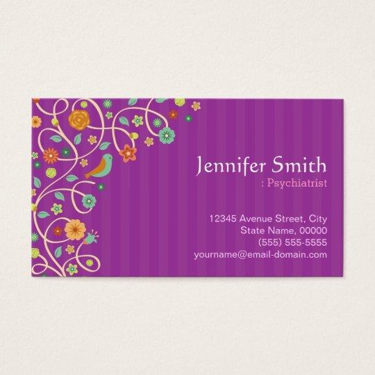Psychiatrist - Purple Nature Theme Business Card