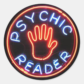 Psychic Reader Neon Sign Round Sticker