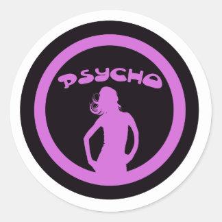 Psycho Babe Round Stickers