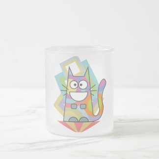 Psycho-cat Frosted Glass Coffee Mug