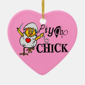 Psycho Chick Ceramic Heart Decoration