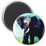"""Psycho Elephant"" Round Magnet"