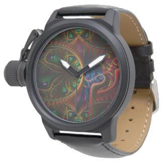 Psycho Gears Flame Fractal Art Wristwatch