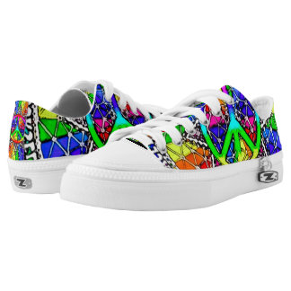 Psycho Peace Mandala Custom Zipz Low Top Kickers