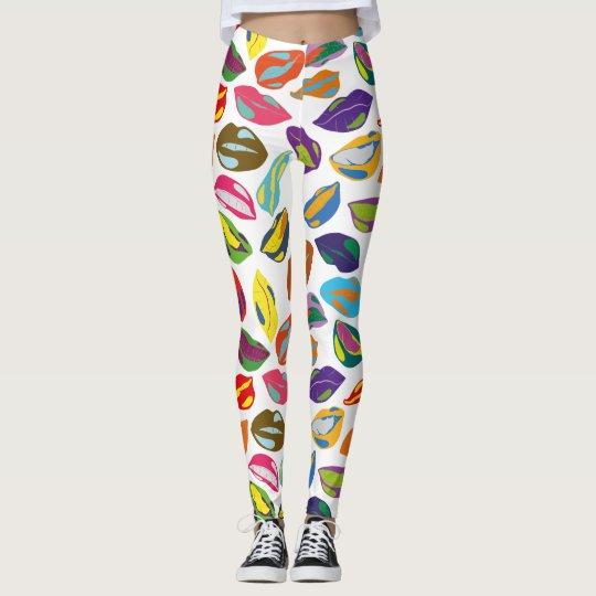 Psycho retro colourful pattern Lips Leggings