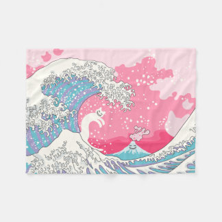 Psychodelic Bubblegum Kunagawa Surfer Cat Fleece Blanket