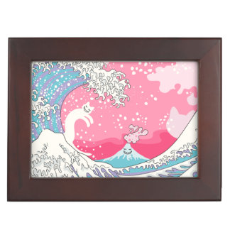 Psychodelic Bubblegum Kunagawa Surfer Cat Keepsake Box