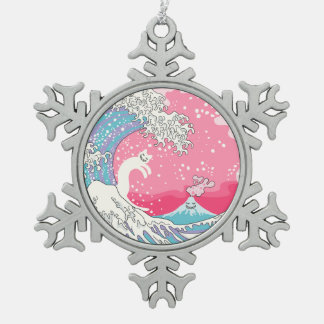 Psychodelic Bubblegum Kunagawa Surfer Cat Snowflake Pewter Christmas Ornament