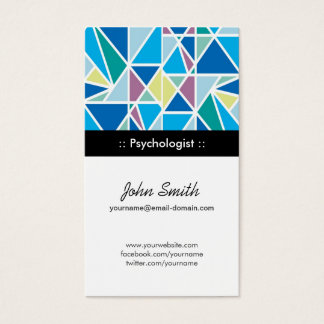 Psychologist - Blue Abstract Geometry Business Card