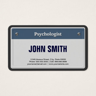Psychologist Cool Car License Plate Business Card