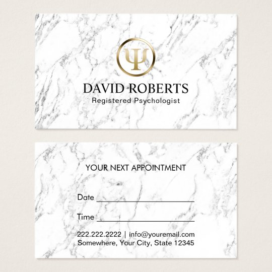 Psychologist Counsellor Elegant Marble Appointment Business Card