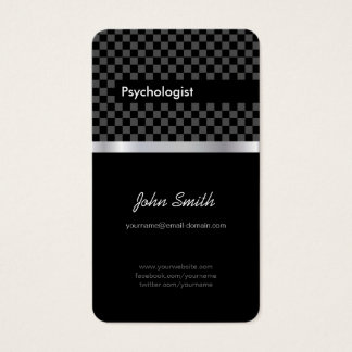 Psychologist - Elegant Black Checkered Business Card
