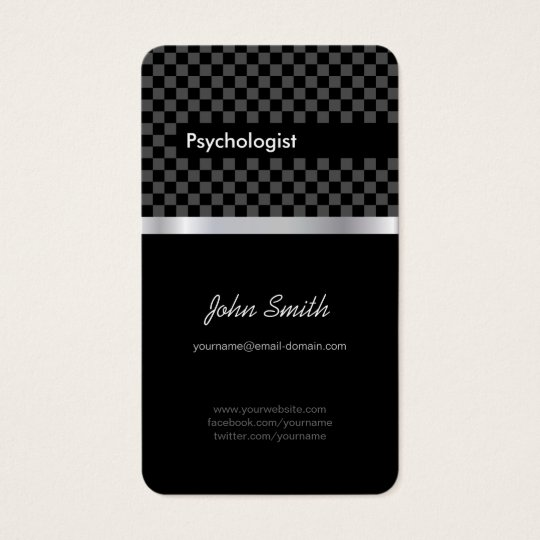 Psychologist - Elegant Black Chequered Business Card
