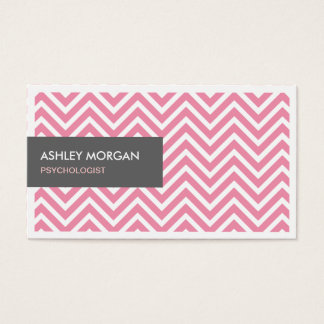 Psychologist - Light Pink Chevron Zigzag Business Card