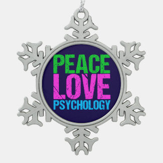 Psychologist Peace Love Psychology Snowflake Pewter Christmas Ornament
