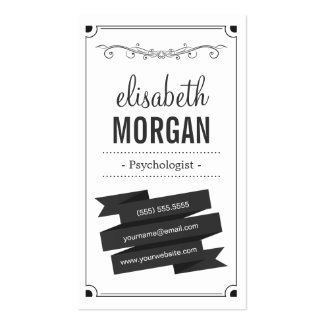 Psychologist - Retro Black and White Business Card Template