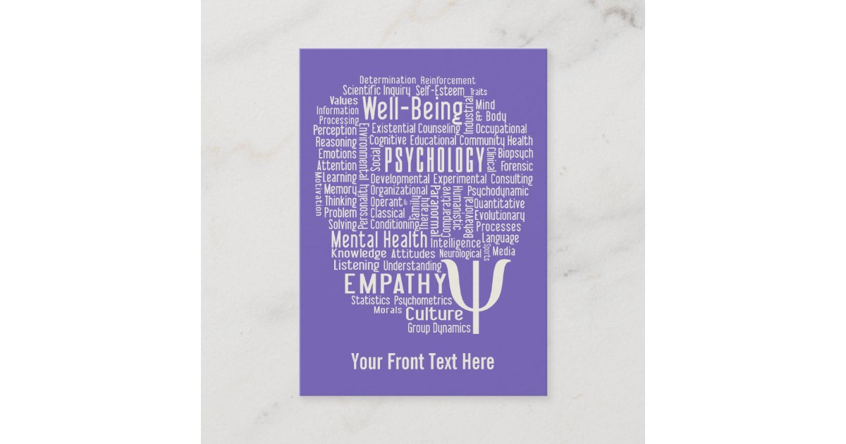 PSYCHOLOGY Word Cloud custom color business cards | Zazzle.co.uk