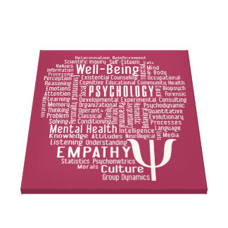 PSYCHOLOGY Word Cloud custom color canvas print