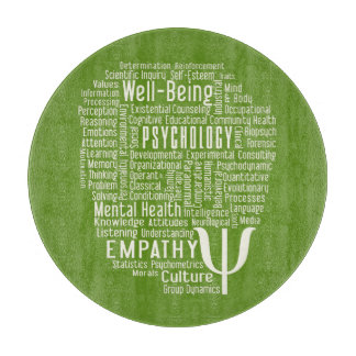 PSYCHOLOGY Word Cloud custom color cutting board