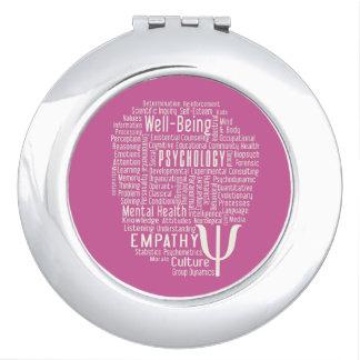 PSYCHOLOGY Word Cloud custom color pocket mirror Vanity Mirror