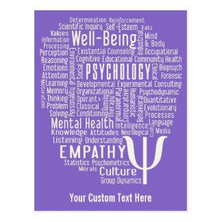 PSYCHOLOGY Word Cloud custom color postcard