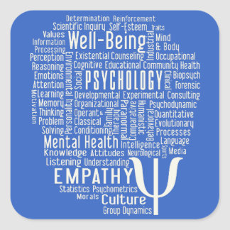 PSYCHOLOGY Word Cloud custom color stickers