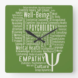 PSYCHOLOGY Word Cloud custom color wall clock