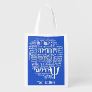 PSYCHOLOGY Word Cloud custom reusable bag