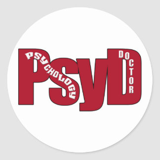 PsyD BIG RED DOCTOR OF PSYCHOLOGY BOLD Classic Round Sticker