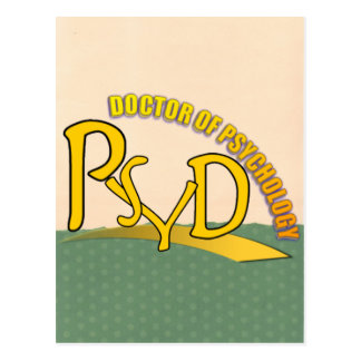 PSYD DOCTOR OF PSYCHOLOGY YELLOW LOGO POSTCARD