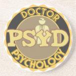 PsyD LOGO DOCTOR OF PSYCHOLOGY PSYCHOLOGIST Beverage Coaster