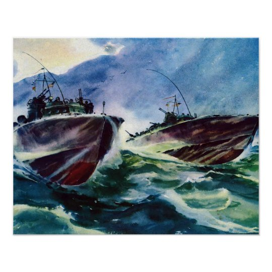 PT BOATS WW2 Hunters of the SEA! NAVY attack boat Poster