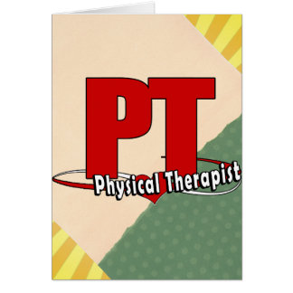 PT LOGO BIG RED Physical Therapist Greeting Cards