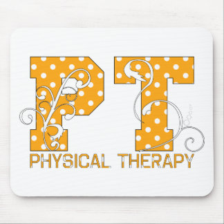 pt orange white polka dots mouse mat