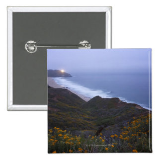 Pt. Sur Lightstation and flowering chapparal, 15 Cm Square Badge