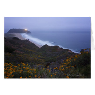 Pt. Sur Lightstation and flowering chapparal, Greeting Card